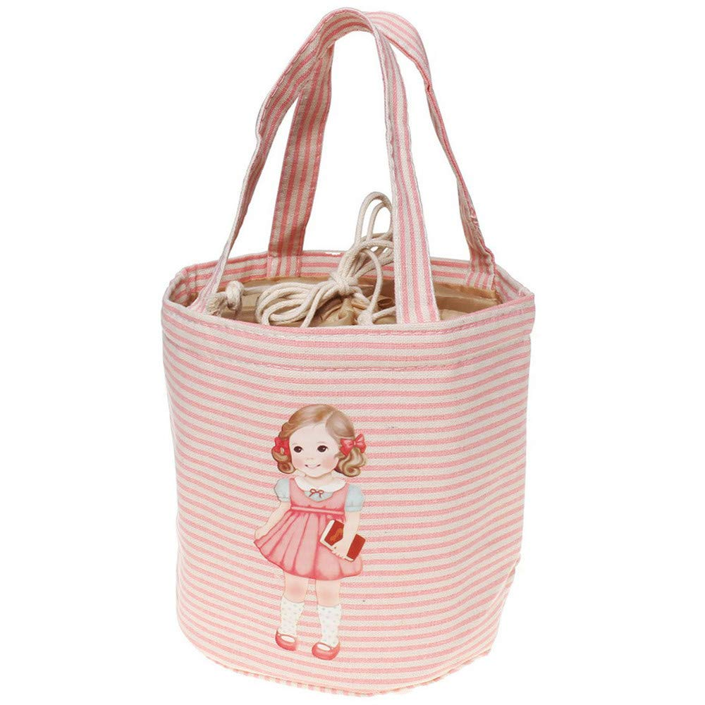 KFSO Girl Muitifunction Canvas Bento Lunch Bag for Picnic Travel Tote Lunch Bag with Rope Belt Stylish (Pink)