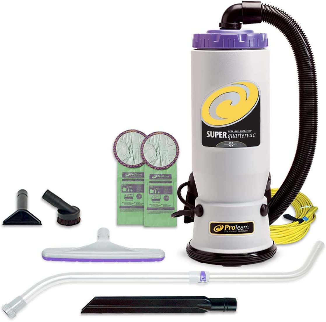 ProTeam Backpack Vacuums, Super QuarterVac Commercial Backpack Vacuum Cleaner with HEPA Media Filtration and Telescoping Wand Tool Kit, 6 Quart, Corded (Renewed)