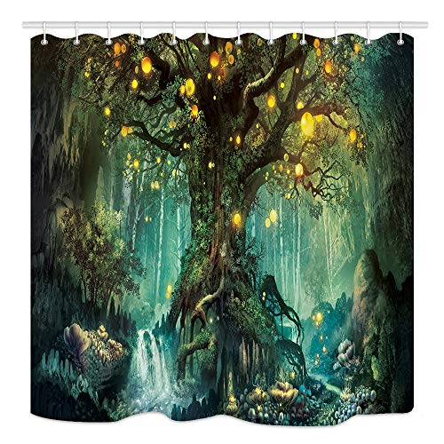 Forest Fairy Tales Shower Curtain, Lanterns and Waterfalls Under Fantasy Large Tree Bohemian, Mildew Resistant Waterproof Fabric Bathroom Decor, 69X70 Bath Curtains Accessories with Hooks