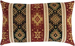 """pillowerus Tapestry Gobelin Burgundy Red-Dark Green 12""""x20"""" Throw Decorative Lumbar Pillow Cover Sham Ethnic Kilim Oriental Tribal Eclectic Style for Home Decor, Sofa, Couch, Porch, Patio, Chair"""