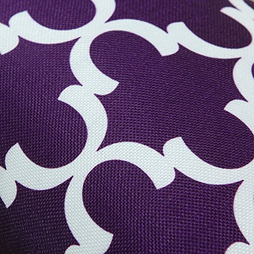 Pack of 2 CaliTime Bolster Pillow Covers Cases for Couch Sofa Home Decor, Modern Quatrefoil Accent Geometric, 12 X 20 Inches, Deep Purple