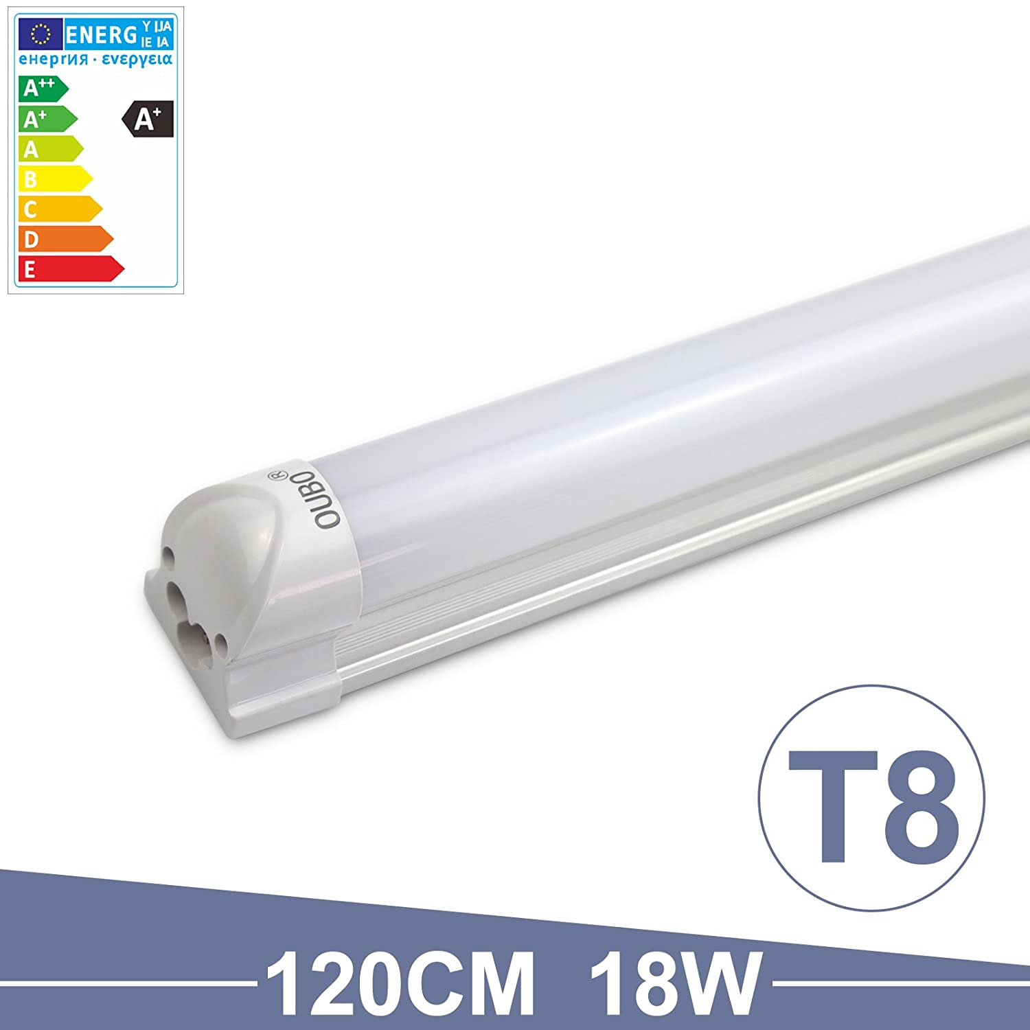 OUBO 4FT T8 Tube light LED Fluorescent Daylight Cool White 6500K Milky white cover 18W 1700Lm SMD 2835 G13 230 volts