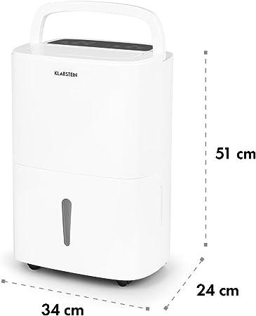 Klarstein DryFy 20 Deshumidificador de Aire - Secado de ambientes Secos, 20 L/día, Humedad programable, Temporizador, 420 W, Espacio Ideal: 40-50 m², Silencioso, Depósito: 5L, Filtro, Blanco: Amazon.es: Hogar