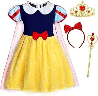 AmzBarley La Principessa Biancaneve/Anna Vestito Costume per Bambine Ragazze Festa di Compleanno Vestire Halloween Carnevale Cosplay Abiti Vacanza Festival Capi di Abbigliamento
