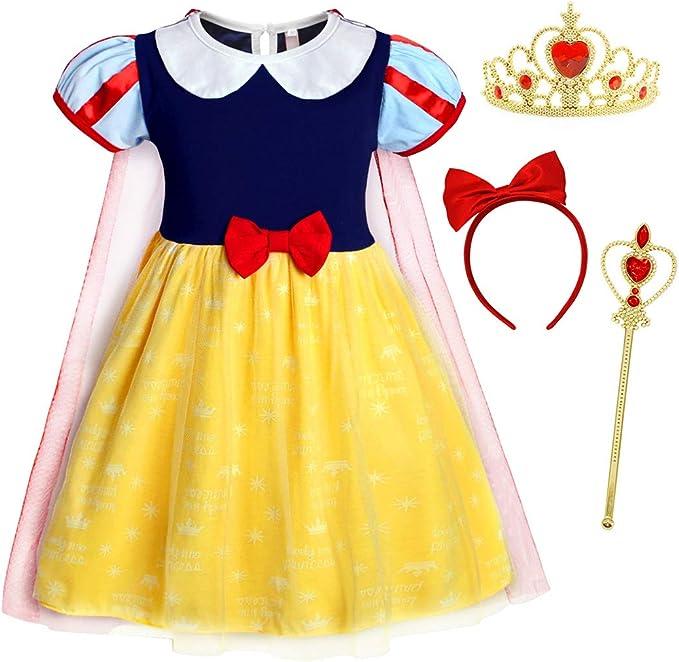 Kids Toddler Girl Princess Snow White Princess Cosplay Fancy Dress Halloween