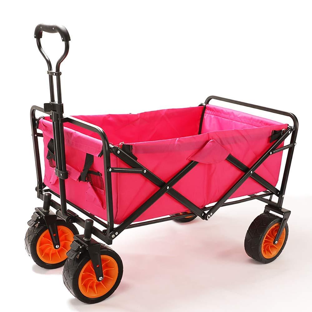 Li hand-trucks LWOO Folding Garden Cart Beach Shopping Cart/Mass Storage/Widening Tire + Brake/Load: 80 Kg/Red (Color : Red) by Li hand-trucks