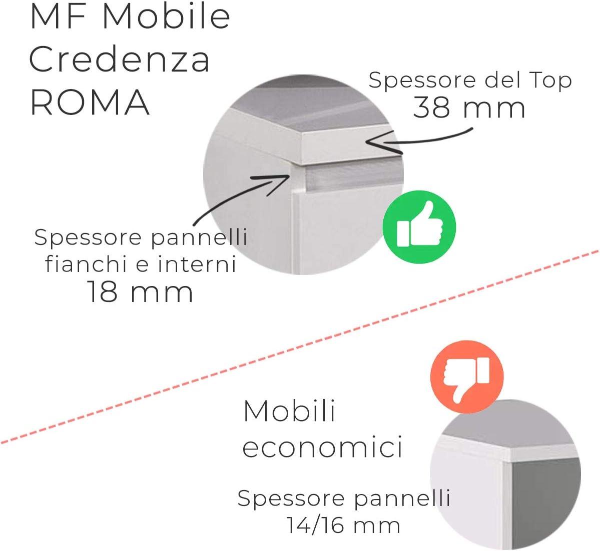 MF Contromobile Buffet Roma Bianco//Marmo Oro Laccato Lucido 2 Ante e 3 Cassetti 165 x 50 x h83 cm