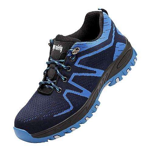 Huatime Seguridad Laboral Ligero Hombre Zapatos - Puntera De Acero Botas Al Tobillo Trabajo Informal Tenis