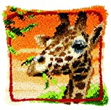 Latch Hook: Cushion: Giraffe Eating Leaves