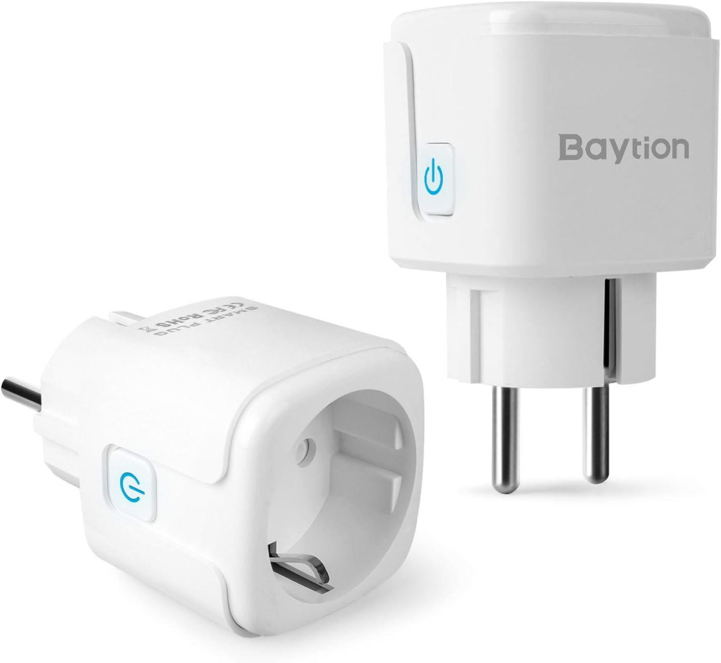Enchufes Inteligentes, Baytion 16A Enchufe Inteligente con red Wi-Fi Trabaja con Alexa, Echo, Google Home Mini Socket Inteligente Monitoreo de Energía Remoto y Control de Voz No Requiere Hub (2 Pcs)