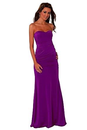 7e3ecd64615 Strapless Long Designer Evening Gown Sexy Maxi Cocktail Dress Partywear  clubwear Bridesmaid Evening Prom Dresses H3785 Purple MEDIUM Size 10-12  ...