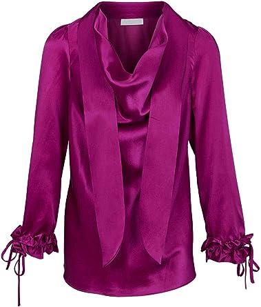 Heine - Blusa de seda para mujer, con volantes y cierre, color rosa rosa 48: Amazon.es: Ropa y accesorios