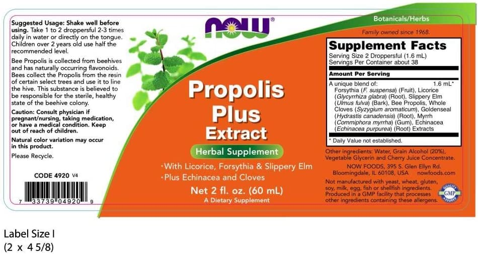 NOW Supplements, Propolis Plus Extract Liquid with Dropper, Herbal Supplement, 2-Ounce: Health & Personal Care