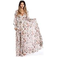 Hansair Chiffon Floral Long Maxi Dress Long Sleeve Deep V Neck Beach Dresses with Belt