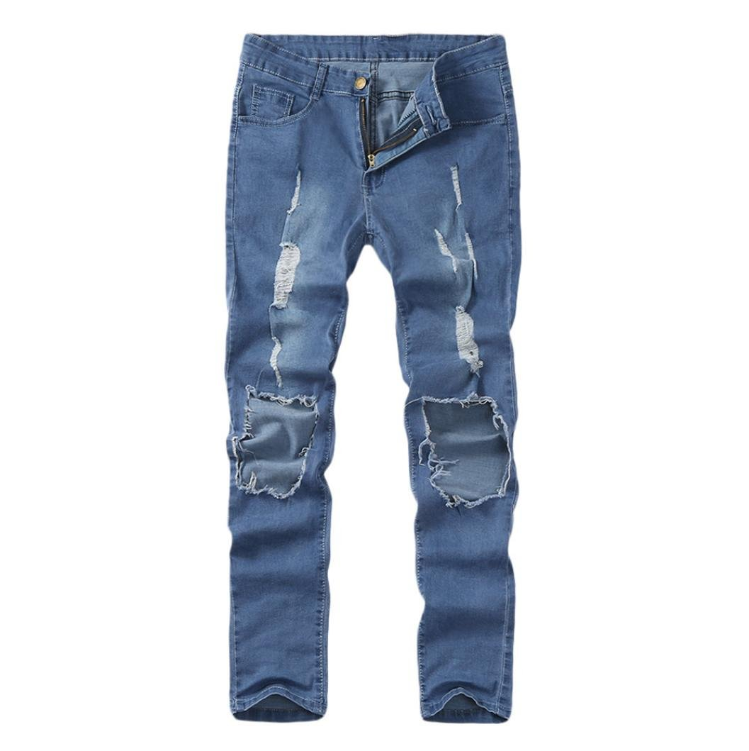 Willsa Men's Pants, Skinny Stretch Denim Pants Distressed Ripped Freyed Slim Fit Jeans Trousers by Willsa (Image #3)
