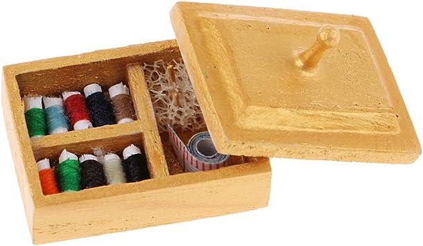 Escala 1/12 Miniaturas Caja de Costura de Madera para Casa de Muñecas: Juguetes y juegos - Amazon.es