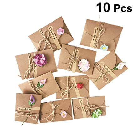 amosfun 10pcs vintage kraft paper greeting card diy handmade dried flower wish card thank you card