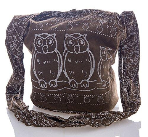 Owl Purse Sling Bag Messenger Hippie Brown Crossbody Cotton Hobo Avarada Thai Bohemian IAwn8Cqnv