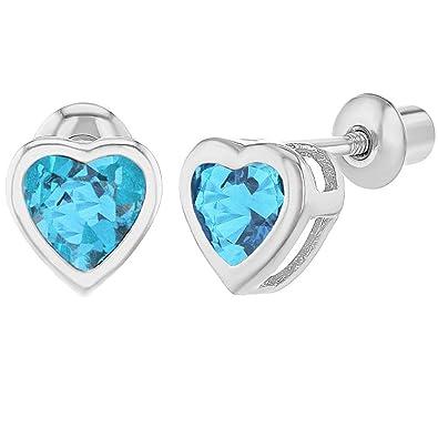 257271bc3 Rhodium Plated Light Blue Aqua Crystal Heart Screw Back Earrings Toddlers  Girls