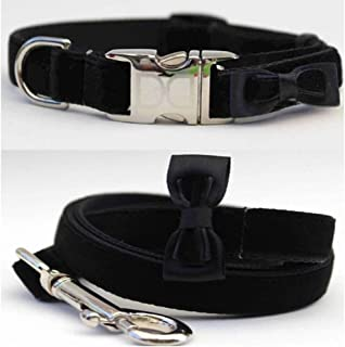 "product image for Diva-Dog 'Bow Tie Velvet Black' Custom Small Dog 5/8"" Wide Dog Collar with Plain or Engraved Buckle, Matching Leash Available - Teacup, XS/S"