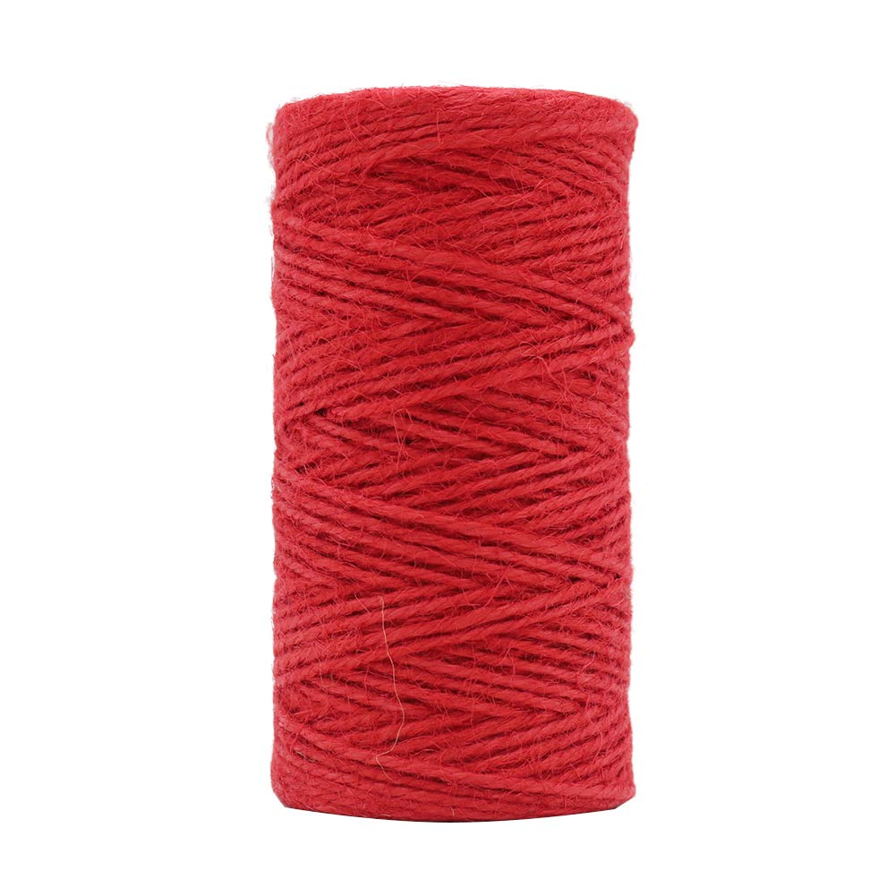 Tenn Well 2mm Jute Twine, 328 Feet Natural Jute String for Gardening, Gift Wrapping, Decoration, DIY Crafts (Red)