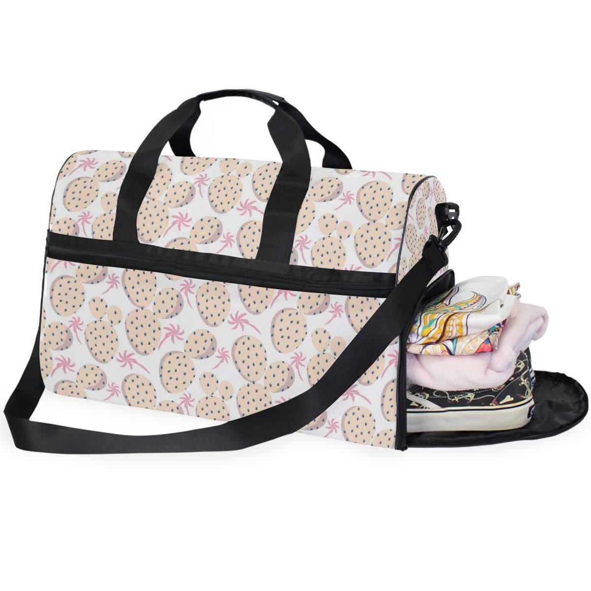 Pink Coconut Tree Orange Cactus Large Travel Duffel Bag For Women Men Overnight Weekend Lightweight Luggage Bag