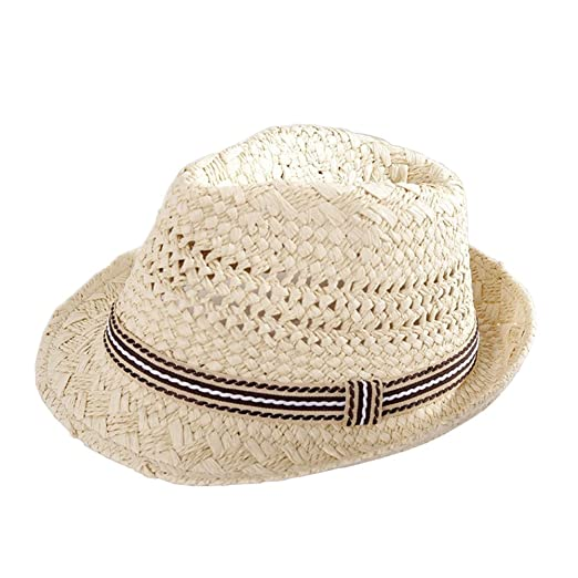 7f05af8afe9 Image Unavailable. Image not available for. Color  Boys  Kids Panama Style  Straw Fedora Sun Hat Short Brim Beach Hat Caps