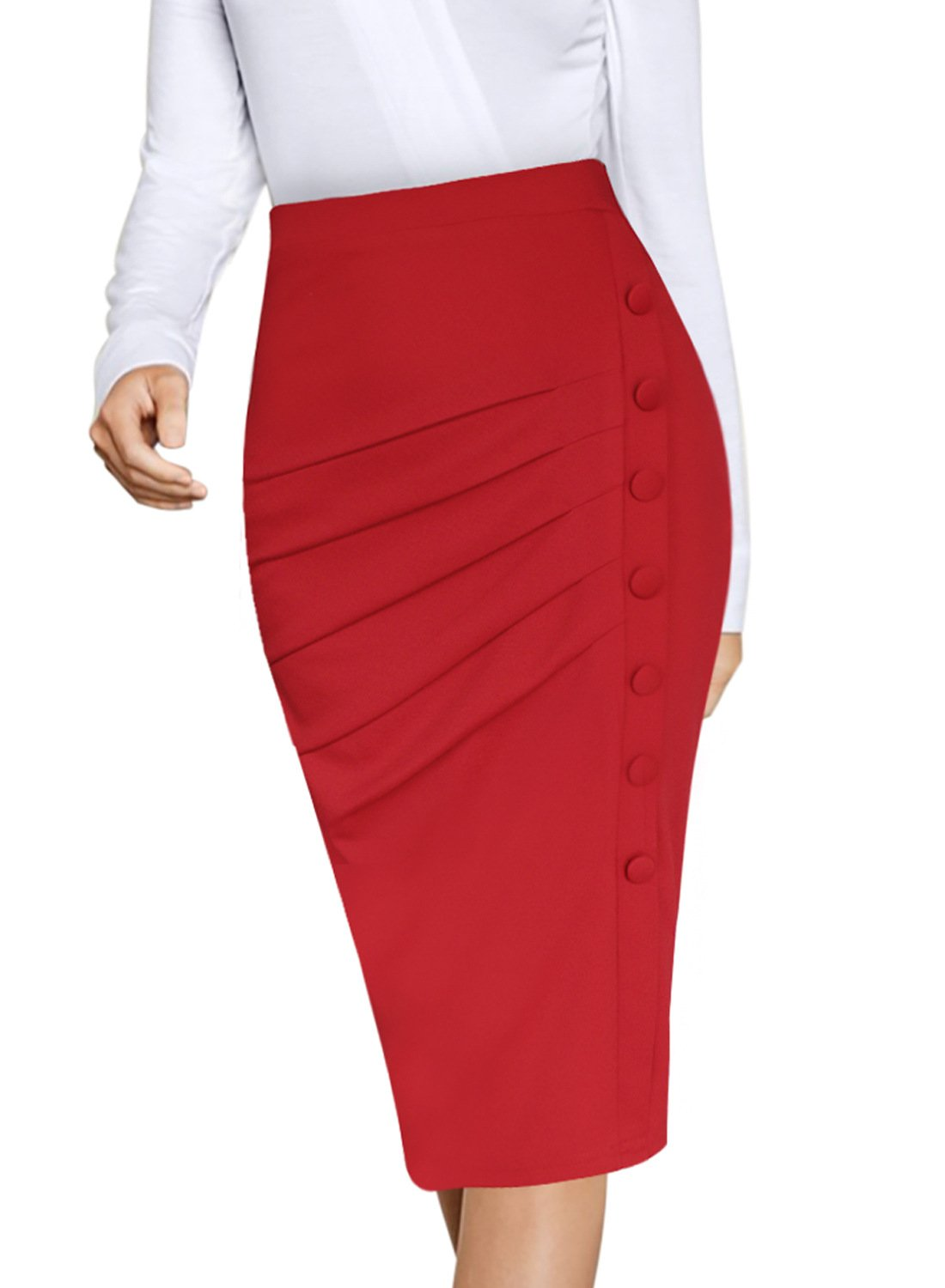 VFSHOW Womens Pleated Buttons High Waist Wear to Work Office Pencil Skirt 021 RED XS