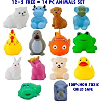 VIVID SALES 14 Piece Toddler Baby Bathtub Bathing Chu Chu Squeeze Bath Toys Non-Toxic BPA Free, Animal Shape