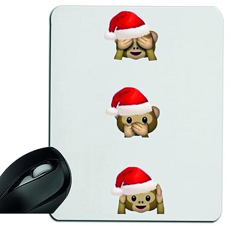 Druckerlebnis24 Alfombrilla de ratón Navidad Monos Nada böses Shen Decir escuchar Mousepad, reposamuñecas,