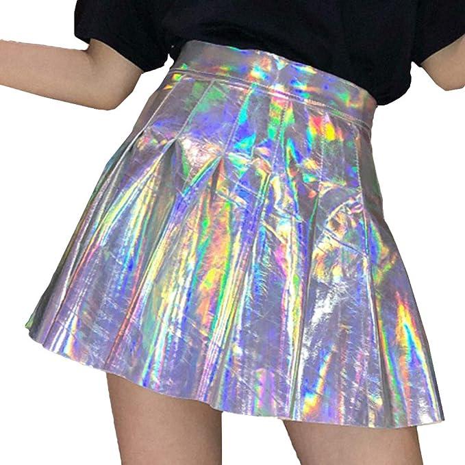 Mxssi Mujeres Plisado Falda Harajuku Laser Preppy Faldas Mini ...