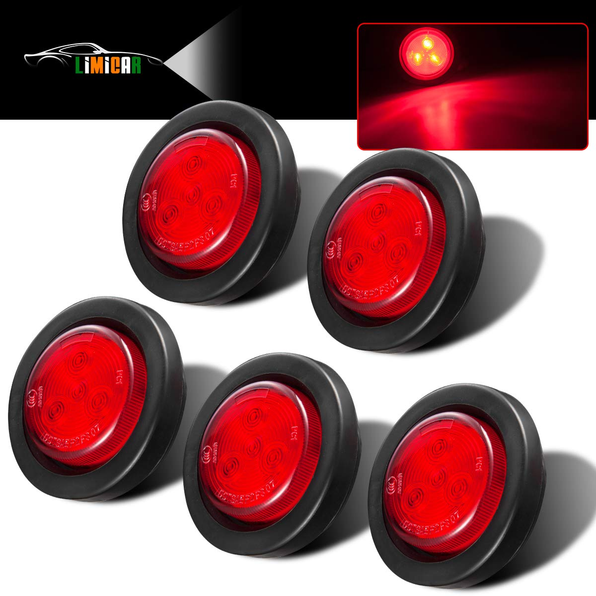 """4pcs 2/"""" Round 9 LED Amber//Amber LED Stop Turn Light w// Rubber Grommet /& Pigtail"""