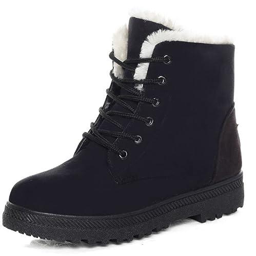 5c70707d2fc DADAWEN Women's Suede Waterproof Lace Up Winter High Top Snow Boots