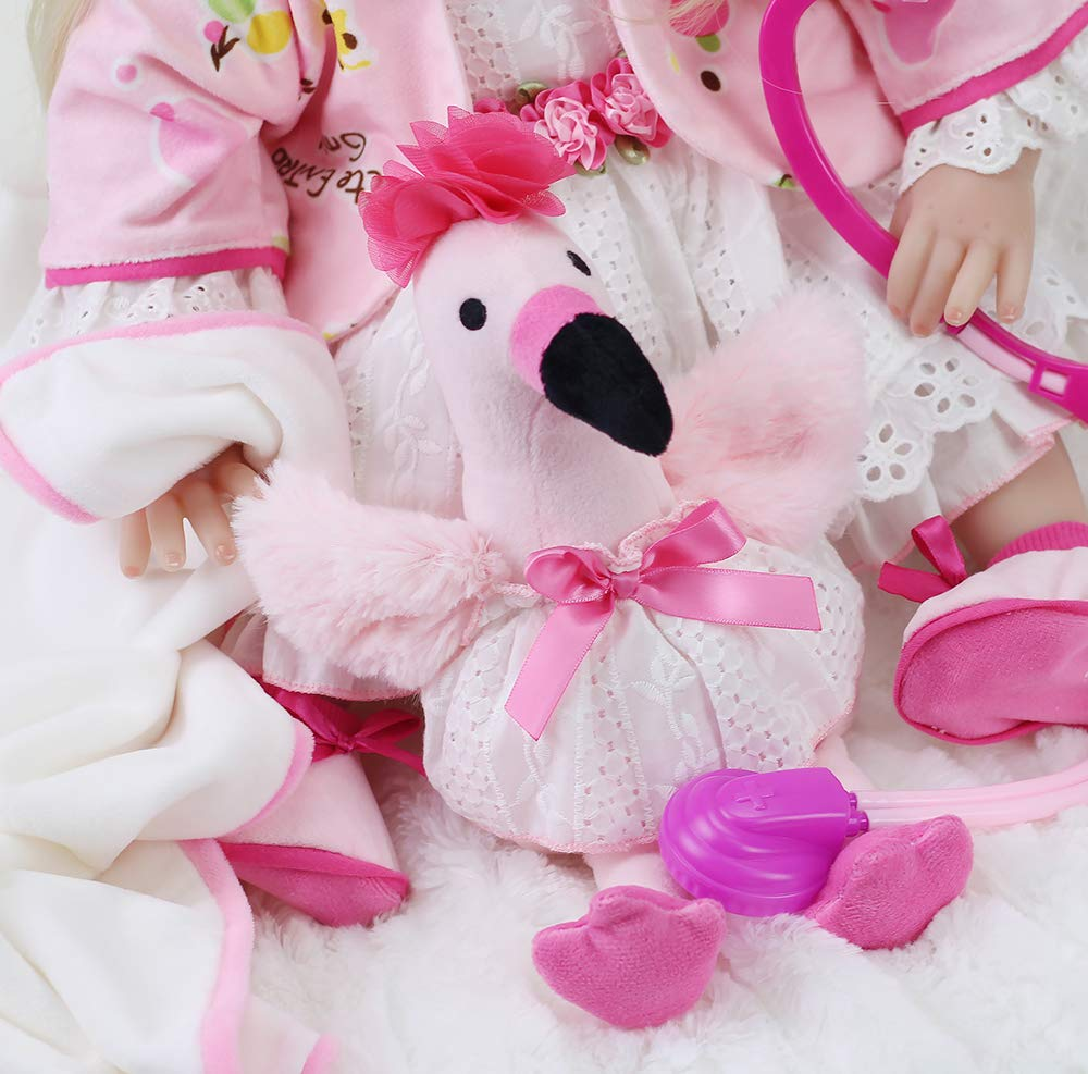 Handmade Soft Vinyl Weighted Realistic Dress Girl Sweet Collection 22 Lifelike Reborn Baby Doll 9-Piece Gift Set Pink Doctor Toy Flamingo Interactive Birthday/&Xmas Gift Union Gifts