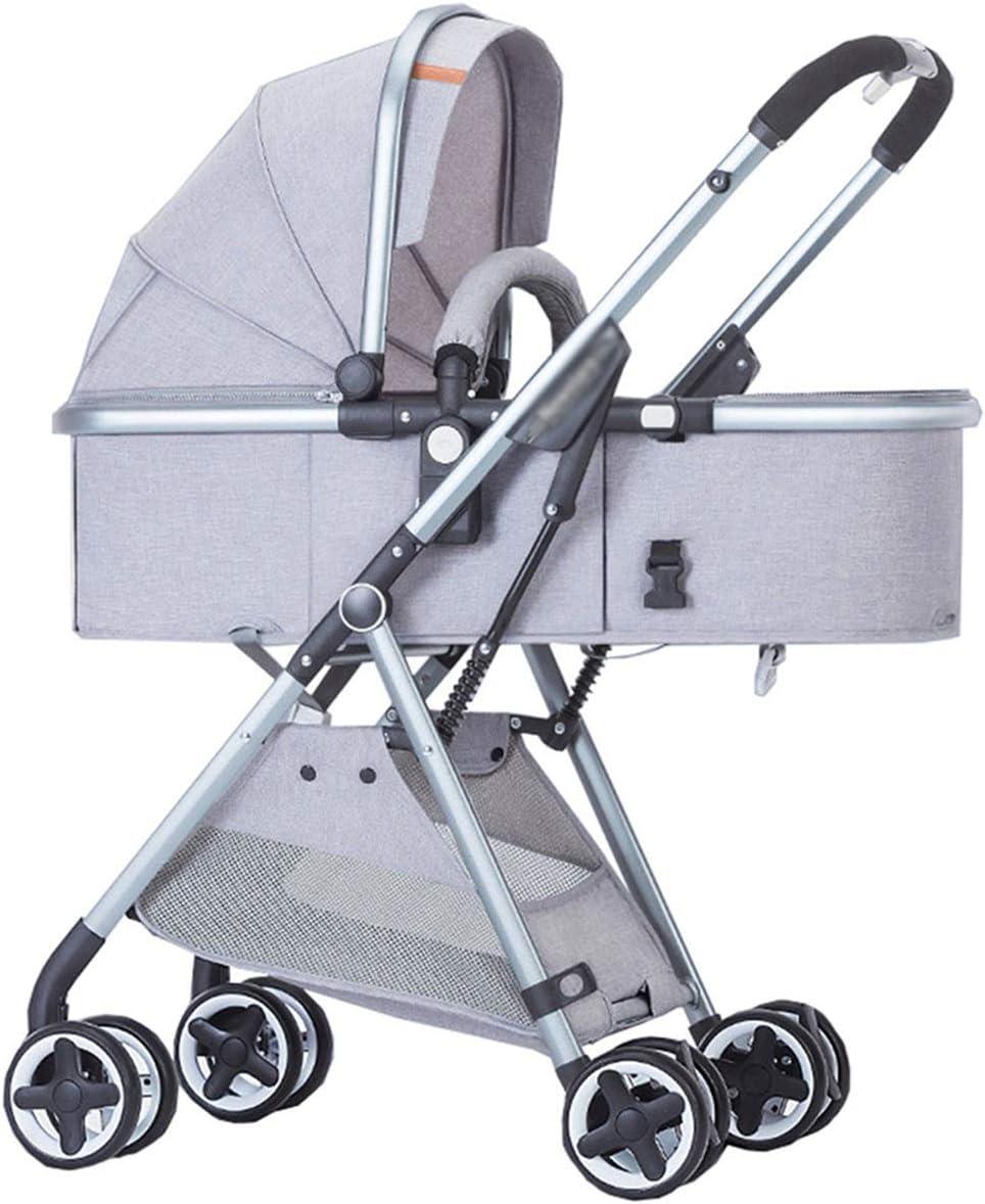 子供のトロリー五点式シートベルトの大容量の収納バスケット、軽量の高い景色はリクライニング折りたたみ二方向耐震性の子供のトロリーを座ることができます (Color : Gray-A)