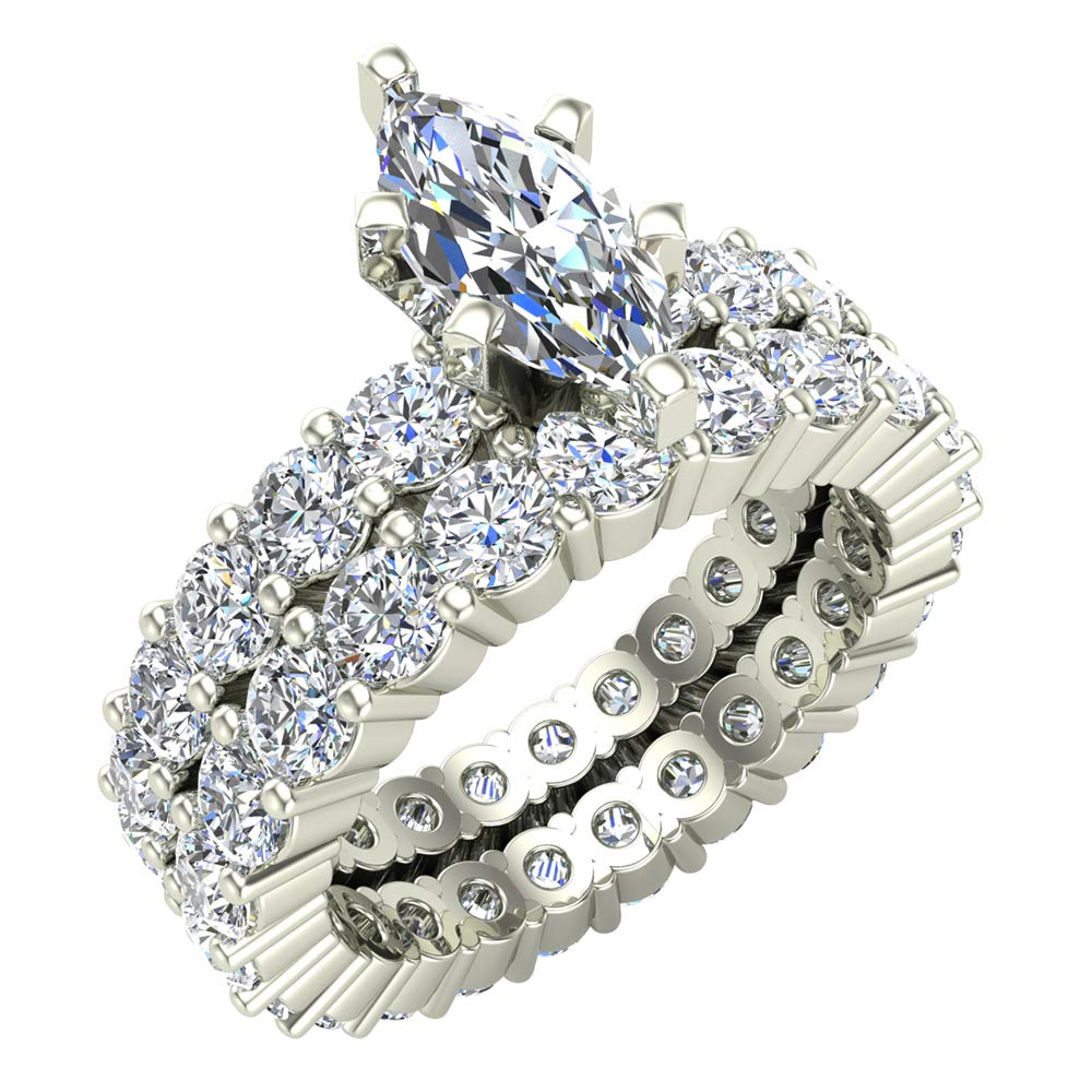2f82dc14351b8 Amazon.com  Marquise Cut Center with Round Eternity Diamond Shank    Eternity Wedding Band Ring 4.13 Carat Total Weight 14K White Gold Center  0.71 Carat ...