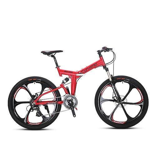 Extrbici NEUF MIS à jour Flu-red Rd100Accordeur 66cm Full Suspension cadre pliant Vélo de montagne pour homme et femme de vélo pour homme à double Suspension Shimano M310Altus 24&