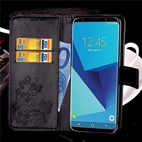 Carcasas y fundas Móviles, Para Samsung Galaxy S8, [Relieve Lucky Flower Four-Leaf Clover] Funda de cuero de la PU [Soporte / Ranura para tarjeta] Con correa de sujeción Flip Cover para Samsung Galaxy Black