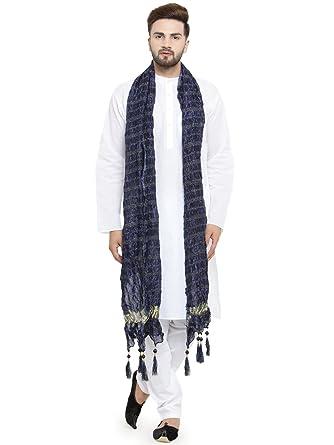 e13db12124e68 Luxurazi Men s Cotton pathan Suit Kurta Pyjama with Stole  (25-kurtastoleset White 44-Regular)