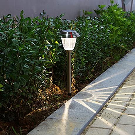 Voona Solar LED Outdoor Lights 8 Pack Stainless Steel Pathway Landscape Lights For Outdoor Path Patio Yard Deck Driveway And Garden Silver