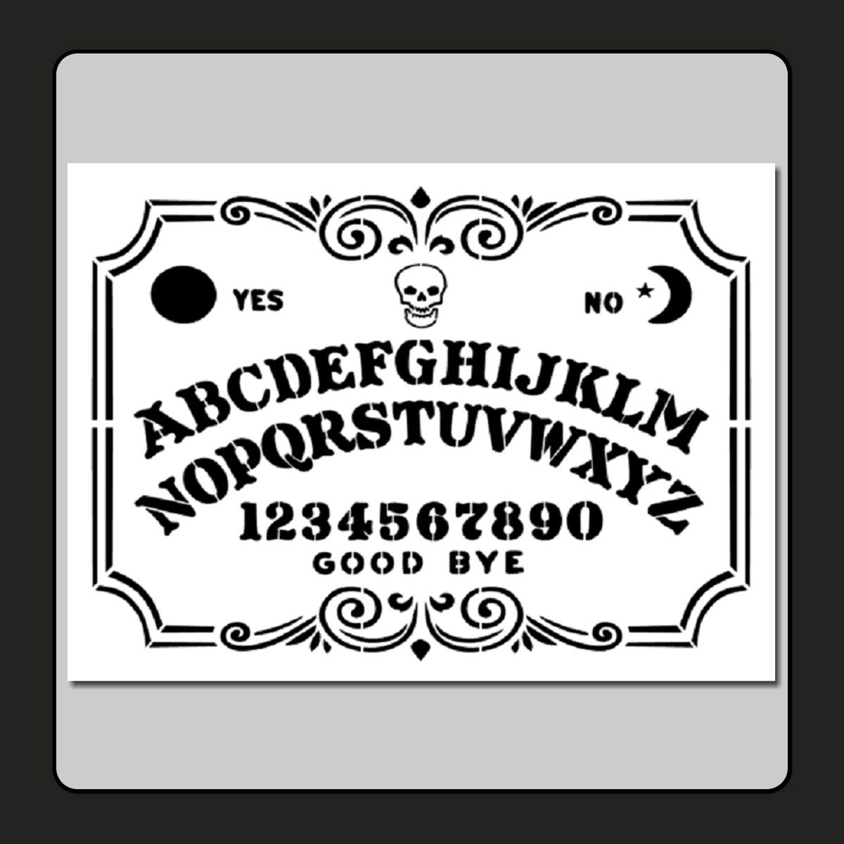 9 X 12 inch Decorative Ouija/Spirit Board Face Stencil Template Skull/Supernatural/Ghost/Halloween by The Craftee Dragon