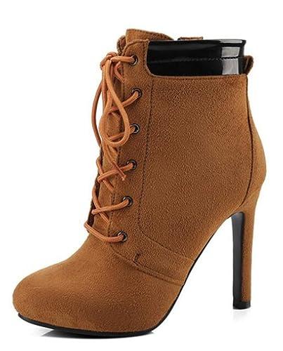 Easemax Damen Modisch Rund Zehe Plateau High Heels Stilettos Lace Up Stiefel