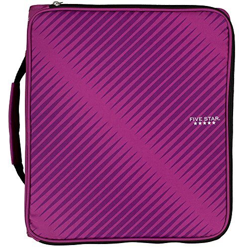 Five Star 2 Inch Zipper Binder, 3 Ring Binder, 6-Pocket Expanding File, Durable, Berry Pink/Purple (72540) by Five...