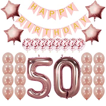 Rose Gold 50th Birthday Decorations Party Supplies Gifts For Women