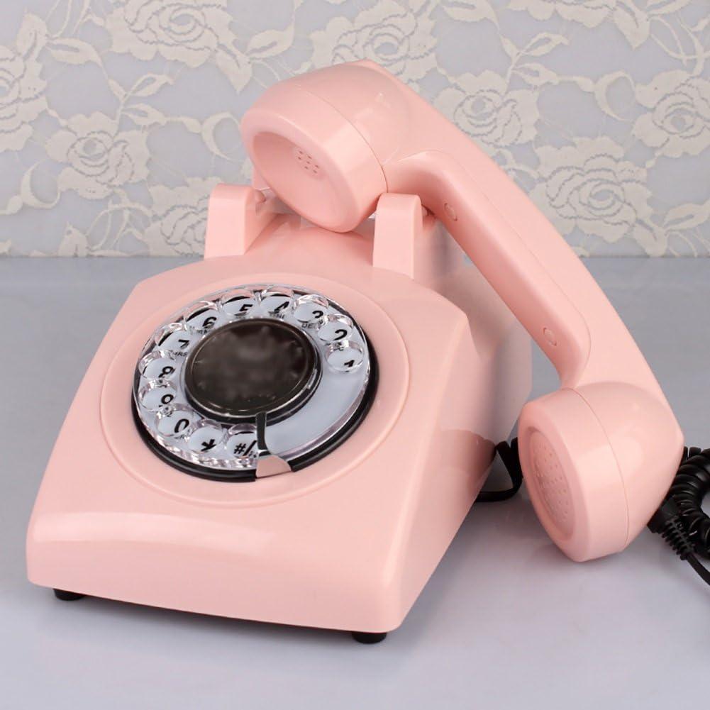 Teléfono fijo, teléfono fijo, teléfono fijo, teléfono retro, teléfono fijo rotativo, multicolor, opcional (Color : Pink): Amazon.es: Electrónica