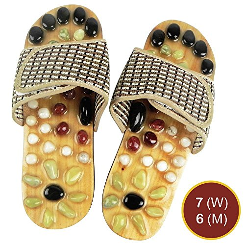 Relax Reflexology Sandals | Powerful Natural Stone Acupressure Slipper | Shiatsu Foot Massager | Men 6 Women 7 | 73.5