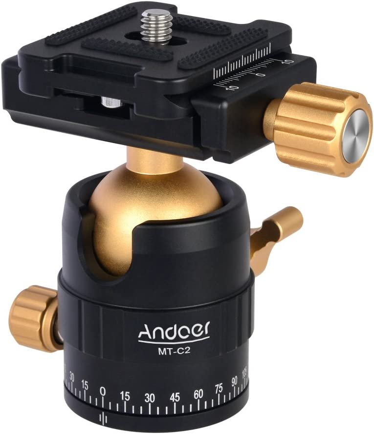 Andoer MT-C3 Compact Size Panoramic Tripod Ball Head Adapter 360/° Rotation Aluminium Alloy with Quick Release Plate Golden