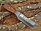 """8"""" Long Hand Forged Damascus Steel Full Tang Tanto Blade Custom Made Hunting"""
