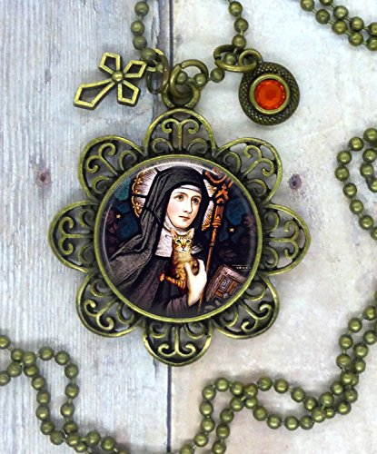 Cat Lover, Saint Gertrude of Nivelles Patron Saint of Cats, Lovely Image with Holy Cross and Orange Swarovski Crystal. Prayers for Energy and Vitality.