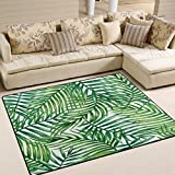 ALAZA Tropical Palm Tree Leaves Watercolor Area Rug Rugs for Living Room Bedroom 7′ x 5′ For Sale
